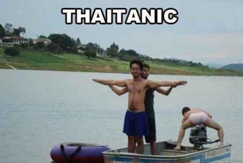 A-funny-photo-spoof-of-the-Titanic-film-shot-in-Thailand-with-the-title-THAITANIC